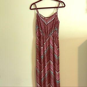 Pink and Teal Geometric Pattern Maxi Dress